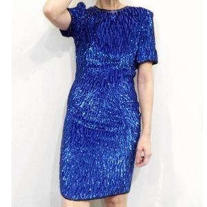 Stenay Vintage Royal Blue Embellised Shift Dress